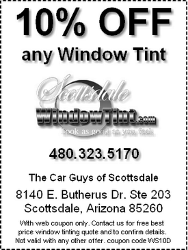 Window Tinting coupon special offer for Scottsdale, AZ